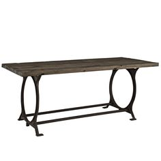 Diffuse Wood Top Cast Iron Dining Table Brown, EMFURN - 3