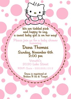 Hello Kitty Baby Shower Invitation, Pink
