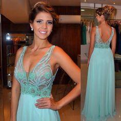 vestido de festa verde água