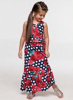 Vestido Longo Infantil (Azul) Brasileirinhos Frock Fashion, Party Fashion, Girl Fashion, Girls Dress Up, Baby Dress, Miss Girl, Fashion Week 2015, Little Fashionista, Young Fashion