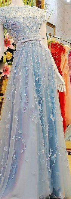 2017 Custom Made Popular Light Blue Prom Dresses,Beading Evening Dresses, Short Sleeves Prom Dresses