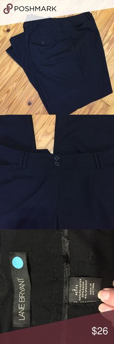 """Lane Bryant wide leg trousers These are in like new condition, Sz 2 Circle which is a 16 in their vanity sizing and the circle line is cut for the curvy girl that is smaller in the waist and fuller in the hips and thighs. Waist 38, hips 50"""". These are petite, inseam 28"""". I also have a dark charcoal pair in this same size listed. Bundle them for combined shipping and a bundle discount. B26 Lane Bryant Pants Trousers"""