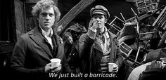 {gif} Enjolras is proud of his barricade.