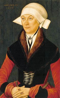 Portrait of a Woman, 1525, by an unknown German master - Very nice fur partlet.