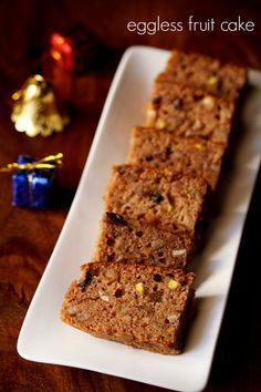 eggless fruit cake – mixed fruits and nuts cake made with apple juice. #desserts #eggless #vegan
