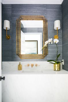 Powder room circa lighting go lightly sconce brass. - Powder room circa lighting go lightly sconce brass. Hallway Light Fixtures, Hallway Lighting, Hallway Mirror, Powder Room Wallpaper, Of Wallpaper, Wallpaper For Bathrooms, Powder Room Mirrors, Powder Room Lighting, Cool Ideas