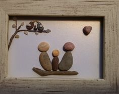 Colorful Pebble family of three art