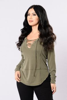 - Available in Olive - Lace Up Front - Long Sleeve Top - Ribbed - Made in USA - 65% Modal 35% Polyester
