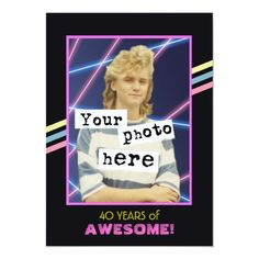 1980's Retro Style Photo Party Announcement Anniversary Party Invitations, Anniversary Parties, Zazzle Invitations, Invites, 40th Anniversary, Faire Part Photo, Photo Pa, Carton Invitation, Style Retro
