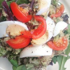 ... red onion, chillies and beetroot, rocket salad topped with boiled egg