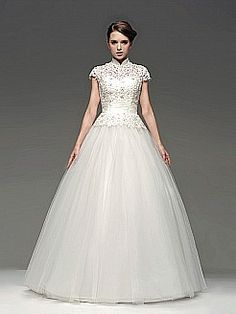 High Neck Tulle Ball Gown with Lace Bodice - USD $209.00