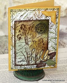 Card by Connie Mercer using Darkroom Door Inky Irises Collage Stamp, Fallen Leaves Background Stamp and quote from Whimsical Words Rubber Stamp Set.