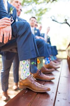 add some personality to a group of groomsmen by letting them pick fun socks to wear on the day of!  #bridesofok #oklahomabrides