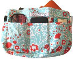 Red floral handbag organiser