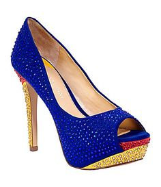 Something about the color catches my eye could be the sparkles <3  Gianni Bini Jazlyn Colorblock Pumps #Dillards
