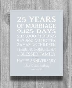 Gifts For Parents 26th Wedding Anniversary : anniversary on Pinterest 25th anniversary gifts, 50th anniversary ...