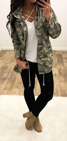 Yoga Pants w/ Fab Booties an Army Jacket.. Yes! Clothing, Shoes & Jewelry - Women - leggings outfit for women - http://amzn.to/2kxu4S1