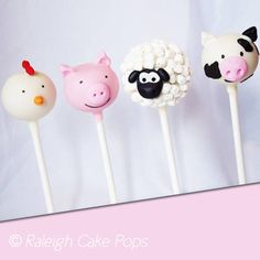 Our Farm Animal Cake Pops (cow, chicken, sheep, rooster) - great idea for the sheep (mini marshmallows) Animal Cake Pops, Farm Animal Cakes, Farm Animal Party, Farm Animals, Oreo Cake Pops, Cookie Pops, Farm Themed Party, Farm Party, Farm Birthday