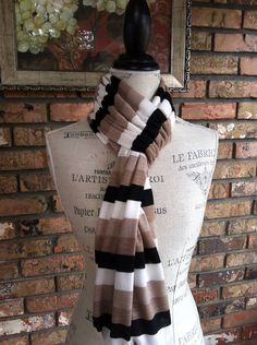 Multi Tonal Ombre Scarf, Chunky Scarf, Striped Infinity Scarf on Etsy, $20.00