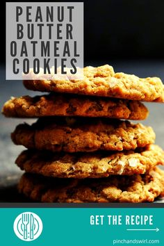 These Peanut Butter Oatmeal Cookies are crispy around the edges and chewy in the middle. The dough is feather light and made in minutes. Chill it first and cook as many cookies as you like then freeze the rest - they freeze beautifully and you can bake them straight from the freezer! Healthy too! Made with whole grain flour, chunky peanut butter, ground walnuts, hearty oats, and a crunchy sea salt finish! #peanutbutteroatmealcookies #peanutbuttercookies #thebestcookierecipes Chunky Peanut Butter, Peanut Butter Oatmeal, Peanut Butter Cookies, Easy Desserts, Dessert Recipes, Whole Grain Flour, Few Ingredients, Oatmeal Cookies, Healthy Treats