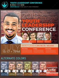 Youth Leadership Conference Flyer Template Designed for events and celebrations, concerts, conferences, etc.. This file is easy to edit for a stunning presentation.Included in this file: 1.2 Photoshop Files 2.Color Options 3.Tutorials All layers in the files a