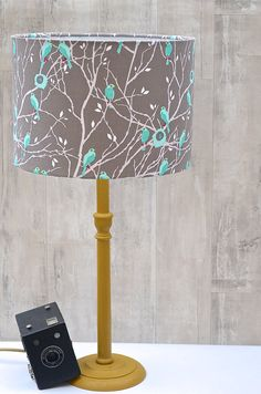 Grey Lampshade with blue birds Cotton Drum by ShadowbrightLamps