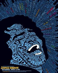 Fabulously psychedelic James Brown poster. A great visual representing the experience! designer unknown.