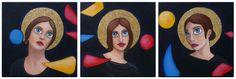 Les Saintes, 3 toiles de 30x30cm, Acrylique, pastel à l'huile, feuille d'or et paillettes