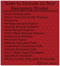 an Emergency Binder - Everyone should have something like this to grab and go in a hurry.Making an Emergency Binder - Everyone should have something like this to grab and go in a hurry. Family Emergency Binder, In Case Of Emergency, Emergency Bag, Emergency Preparedness Kit, Emergency Preparation, Emergency Supplies, Emergency Planning, Info Board, Planners