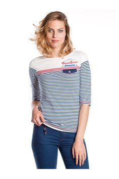 T-shirt de rayas estilo marinero - MUJER   Rosalita McGee #rosalitamcgee #moda #única #diferente #original #mujer #marinero #navy #fashion