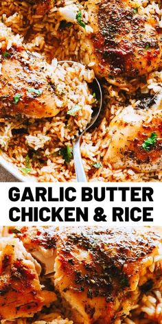chicken recipes Garlic Butter Chicken and Rice Recipe Bursting with buttery garlic flavor, this easy chicken thighs recipe is a one pot dinner guaranteed to impress even the pickiest eaters! Easy Chicken Thigh Recipes, Healthy Chicken Recipes, Rice Recipes, Healthy Cooking, Lunch Recipes, Meat Recipes, Cooking Recipes, Dinner Recipes, Turkey Thigh Recipes