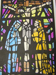 5th grade stained glass Crucifixion - done on paper with markers- found on http://www.betikempa1.blogspot.com