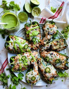 Chicken Stuffed Poblano Peppers with a creamy and bright cilantro lime crema is not just another weekday meal, it's a fiesta! #stuffedpoblanopeppers #poblanopeppers #cilantrolimecrema #avocadocrema #mexicancuisine #whatsfordinner