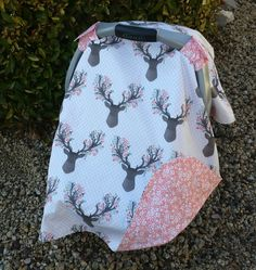 Baby Car Seat Canopy - Baby Car Seat Cover - Pink Car Canopy - Girls Car Seat Canopy  - Deer Car Canopy - Antler Canopy - Baby Shower Gift by KadydidDesigns on Etsy https://www.etsy.com/listing/262405288/baby-car-seat-canopy-baby-car-seat-cover