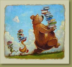 Illustration by Mike Wohnoutka I Love Books, Good Books, My Books, Photo Facebook, Library Posters, World Of Books, Children's Book Illustration, Whimsical Art, Book Worms