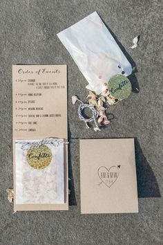 Wedding ceremony booklet with confetti #ceremonyprogram #orderofservice