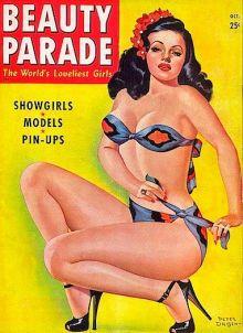PETER DRIBEN - Blue & Red Bikini - Oct 1947 Beauty Parade magazine