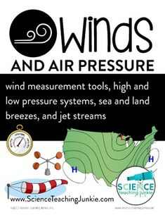 This product is the second in my 3-part unit on weather.  In this unit, students will learn about the winds and air pressure (which will help them read and understand many weather events and weather maps).  Students will learn about wind measurement tools, high and low pressure systems, sea and land breezes, and jet streams.This complete unit comes with labs, demos, station activities, videos, student interactive notebook booklets, short reading passages with questions, card sort, diagrams…