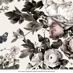 Summer Squall in Daylight White - Floral Wallpaper - by Ellie Cashman Design