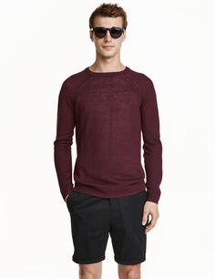 Linen Knit Sweater | Burgundy | Men | H&M US