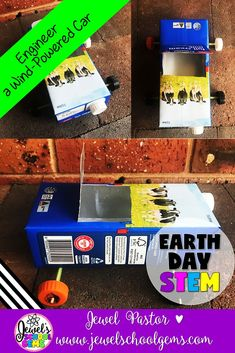 Earth Day STEM Activities (Wind-Powered Car Earth Day STEM Challenge) | This Wind-Powered Car STEM Challenge is perfect for this holiday! It's a fun, creative, and engaging way to get your students designing and building during this time of year.   Challenge your students to design and build a car that runs on wind power out of a milk carton, wooden skewers, drinking straws, bottle caps, and tape. Click to see this on TpT!