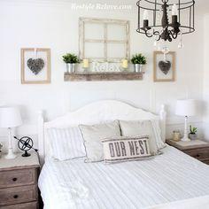 Dove White Rustic Farmhouse Master Bedroom Makeover