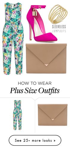 """Bold Plus Size Floral Jumpsuit"" by tenishajonece on Polyvore featuring Manon Baptiste, Alexander Wang, Lauren Ralph Lauren, plussize, plussizefashion and sleevelessjumpsuits"