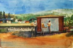 Plein Air Train Paintings | Watercolor: Painting at the Train Station (& a winner of the ...