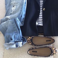 LV ballet flats, breton striped shirt, navy jacket and distressed boyfriend jeans. Looks so comfy.