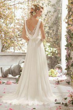 Vintage A Line V Neck Lace Bodice Wedding Dress