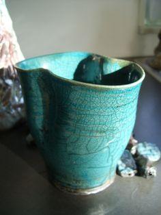 Love this turqoise Raku glaze. Pot by Lena Hautoniemi