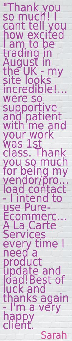 Every service we provide matters to our clients and to us! Happy clients = positive Pure-Ecommerce Reviews!