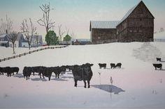 Moore Farm North Pomfret VT  woodblock by JeanneAmatoPrints