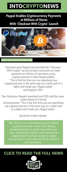 """Payments giant #Paypal has launched the """"Checkout With #Crypto"""" service to allow consumers to make payments at millions of merchants using cryptocurrencies in their Paypal wallets. """"This is the first time you can seamlessly use #cryptocurrencies in the same way as a credit card or a debit card inside your Paypal wallet,"""" said Paypal's CEO. Cryptocurrency News, Crypto Currencies, Enabling, First Time, Wallets, Product Launch, Cards, Purses, Maps"""